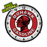 Collectable Sign and Clock Mohawk Gasoline Backlit Wall Clock