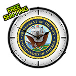 Collectable Sign and Clock US Navy Backlit Wall Clock