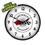Collectable Sign and Clock Chevrolet Corvette C1 Backlit Wall Clock