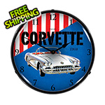 Collectable Sign and Clock 1958 Corvette Backlit Wall Clock