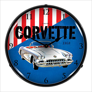 1958 Corvette Backlit Wall Clock