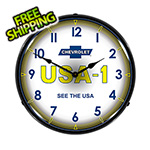 Collectable Sign and Clock Chevrolet USA-1 Backlit Wall Clock