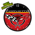 Collectable Sign and Clock Chevrolet Corvette Backlit Wall Clock