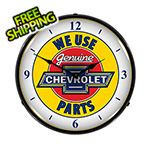 Collectable Sign and Clock Genuine Chevrolet Parts Backlit Wall Clock