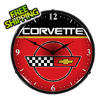 Collectable Sign and Clock Corvette Backlit Wall Clock