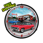Collectable Sign and Clock 1970 Chevy Nova Backlit Wall Clock