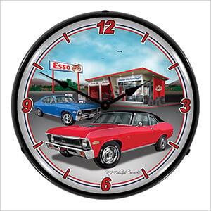 1970 Chevy Nova Backlit Wall Clock