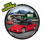 Collectable Sign and Clock Chevy Corvette C5 Backlit Wall Clock