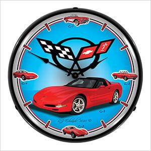 Chevrolet Corvette C5 Backlit Wall Clock