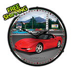 Collectable Sign and Clock Chevy Corvette Raceway Backlit Wall Clock