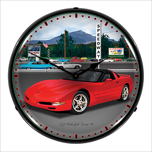 Chevy Corvette Raceway Backlit Wall Clock