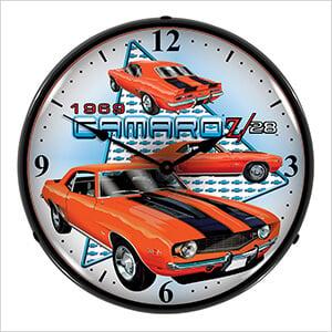1969 Camaro Z28 Backlit Wall Clock