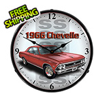 Collectable Sign and Clock 1966 Chevelle SS Backlit Wall Clock