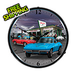 Collectable Sign and Clock 1966 Vette Backlit Wall Clock