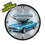 Collectable Sign and Clock 1968 Chevy Camaro SS Backlit Wall Clock