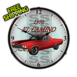 Collectable Sign and Clock 1970 El Camino Backlit Wall Clock