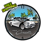 Collectable Sign and Clock 1960 Corvette Backlit Wall Clock