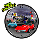 Collectable Sign and Clock 1968 Corvette Backlit Wall Clock
