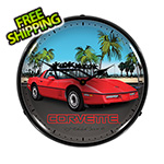 Collectable Sign and Clock Red Corvette C4 Backlit Wall Clock
