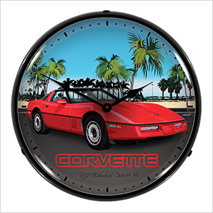 Red Corvette C4 Backlit Wall Clock
