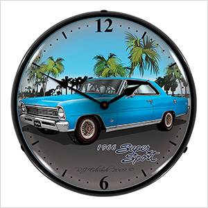 1966 Chevy Nova Backlit Wall Clock
