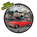 Collectable Sign and Clock 1967 Chevy Nova Backlit Wall Clock