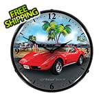 Collectable Sign and Clock 1973 Corvette Backlit Wall Clock