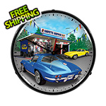 Collectable Sign and Clock 1963 Corvette Backlit Wall Clock