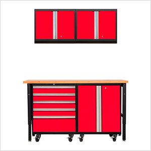 PRO Series 3.0 Red 5-Piece Set with Bamboo Workbench