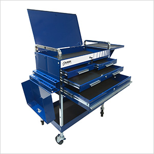 Service Cart with Locking Top and Drawers (Blue)
