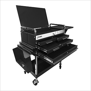 Service Cart with Locking Top and Drawer (Black)