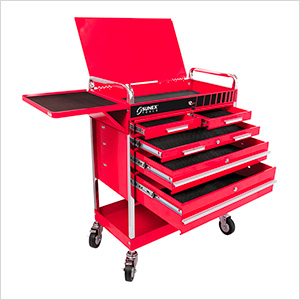 Professional 5-Drawer Service Cart with Locking Top (Red)