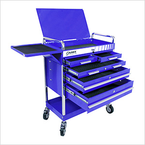 Professional 5-Drawer Service Cart with Locking Top (Blue)