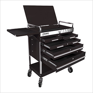 Professional 5-Drawer Service Cart with Locking Top (Black)