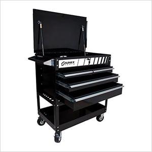 4-Drawer Service Cart with Locking Top (Black)