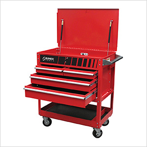 4-Drawer Service Cart with Locking Top (Red)