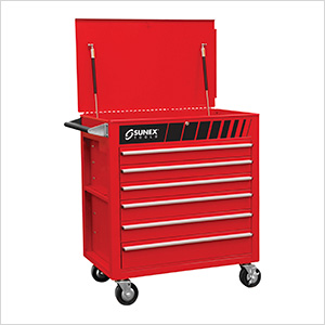 Full Drawer Professional Duty Service Cart (Red)