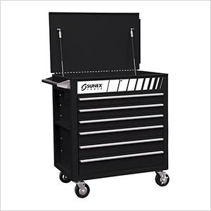 Full Drawer Professional Duty Service Cart (Black)
