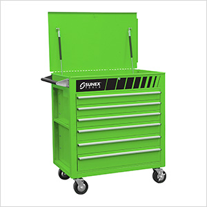 Full Drawer Professional Duty Service Cart (Green)