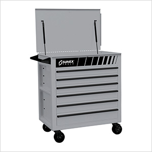 Full Drawer Professional Duty Service Cart (Silver)