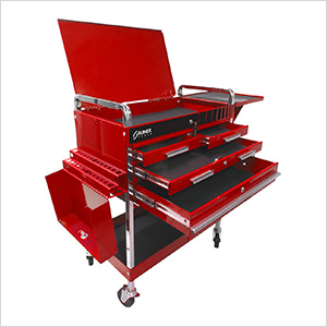 Service Cart with Locking Top and Drawer (Red)