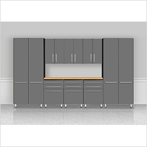 "9-Piece ""Exclusive"" Garage Cabinet Kit with Bamboo Worktop"