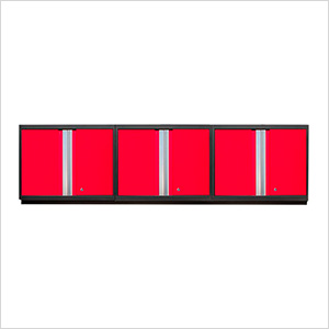 3 x PRO 3.0 Series Red Wall Cabinets