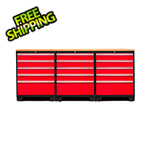 NewAge Garage Cabinets PRO 3.0 Red 4-Piece Workbench Set with Bamboo Top