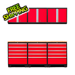 NewAge Garage Cabinets PRO 3.0 Red 7-Piece Garage Storage Set with Bamboo Top