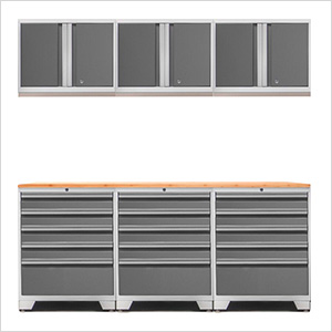 PRO 3.0 White 7-Piece Garage Storage Set with Bamboo Top