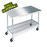 Seville Classics Stainless Steel Work Table with Casters