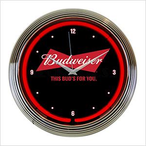 15-Inch Budweiser Bowtie Neon Clock