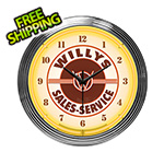 Neonetics 15-Inch Willys Sales Service Neon Clock