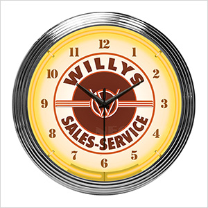 15-Inch Willys Sales Service Neon Clock